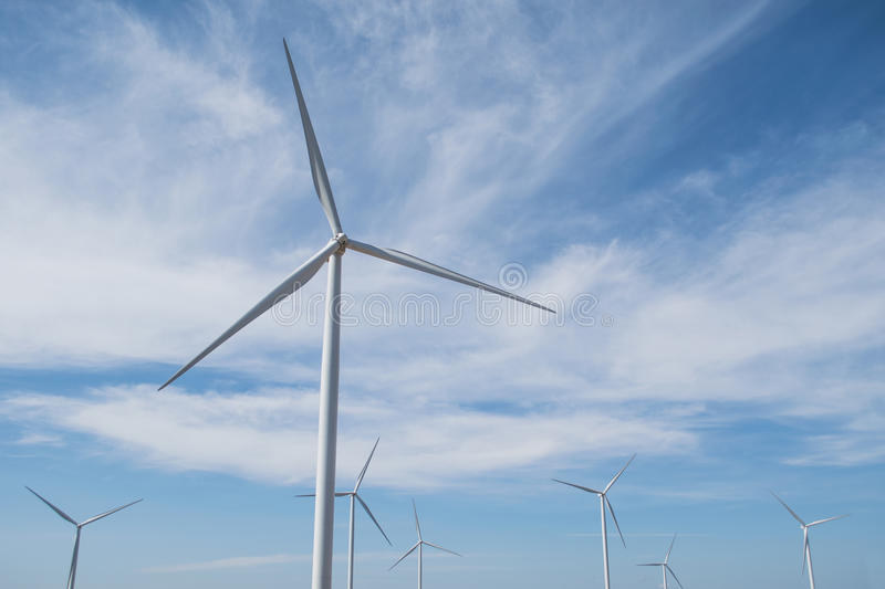 Wind energy on the mountain stock image