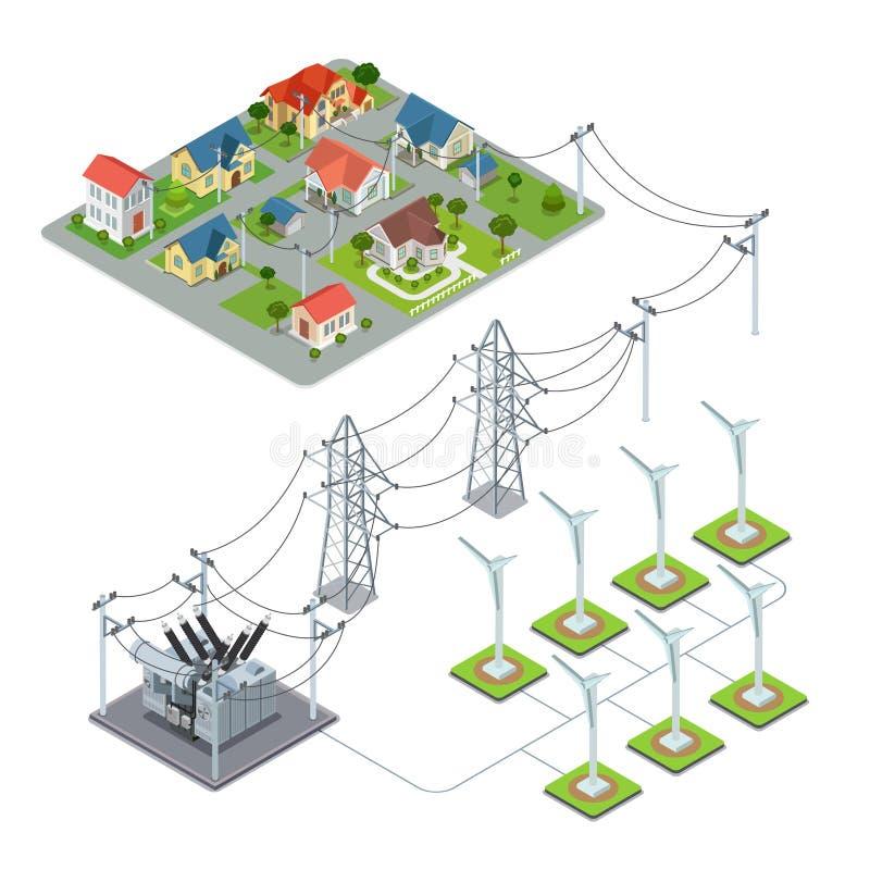 Wind energy propeller green village power supply c royalty free illustration
