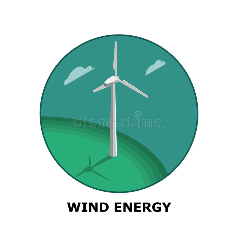 Wind Energy, Renewable Energy Sources - Part 1 vector illustration