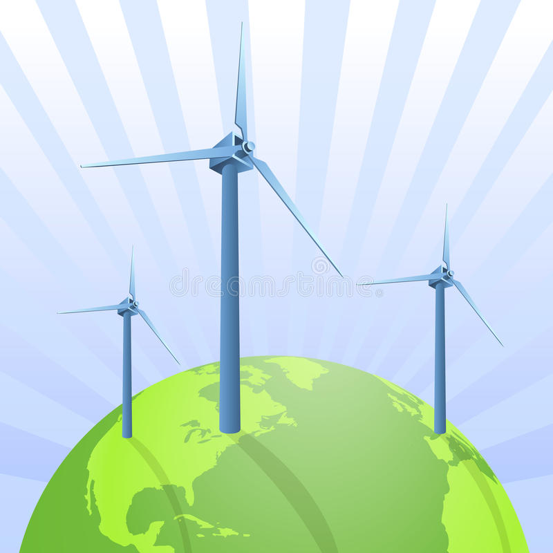 Wind energy saving the earth. Vector illustration as background with three wind energy turbines on a green new earth, with clean energy and a bright future stock illustration