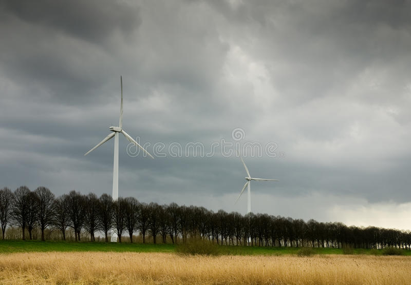 Wind energy turbine royalty free stock photos