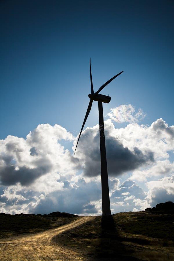 Wind energy turbine stock photo