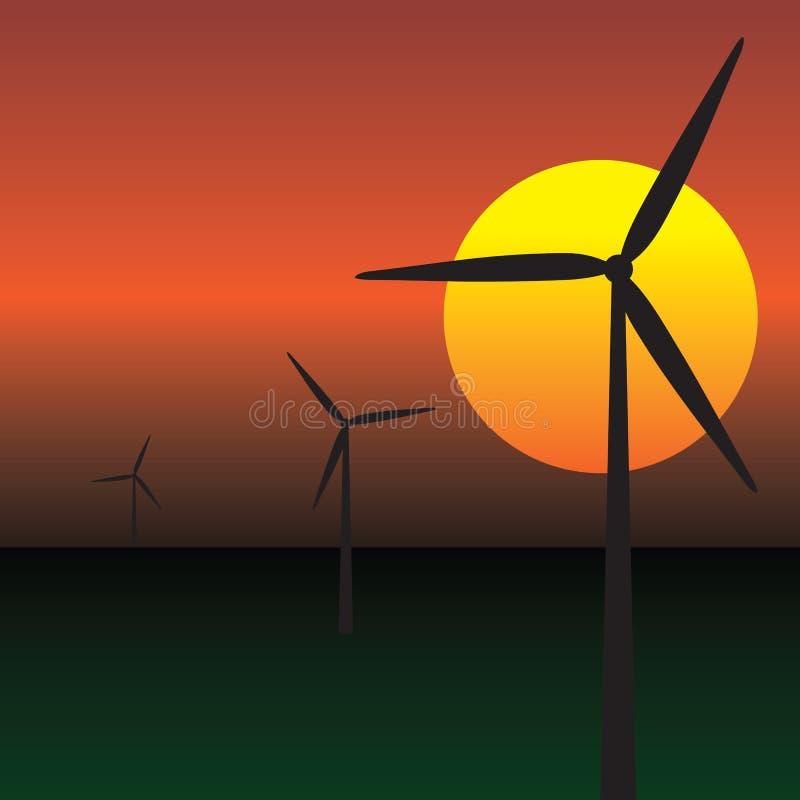 Wind energy turbines vector illustration