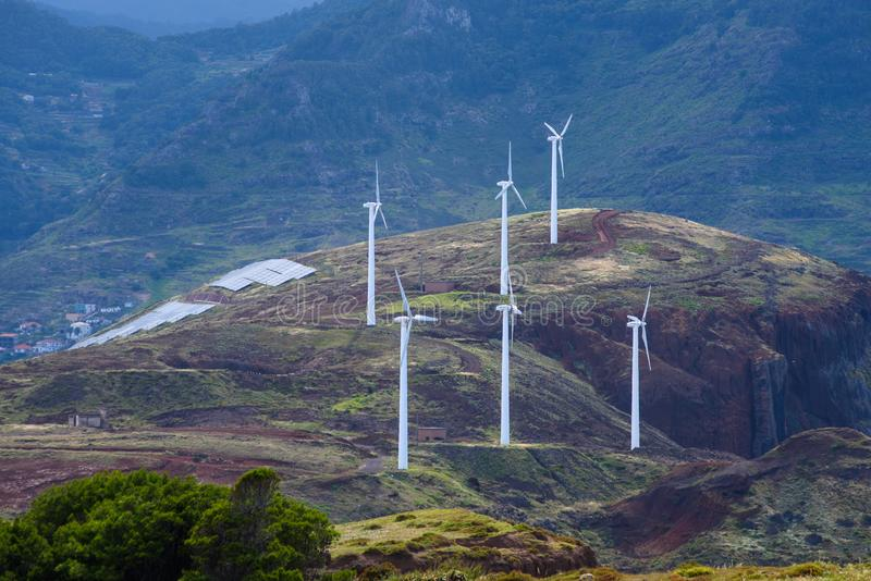 Wind energy. Wind generators on top of the mountain royalty free stock photo