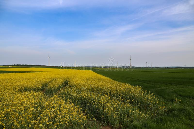 Wind engines in the fields in Germany.  stock photo