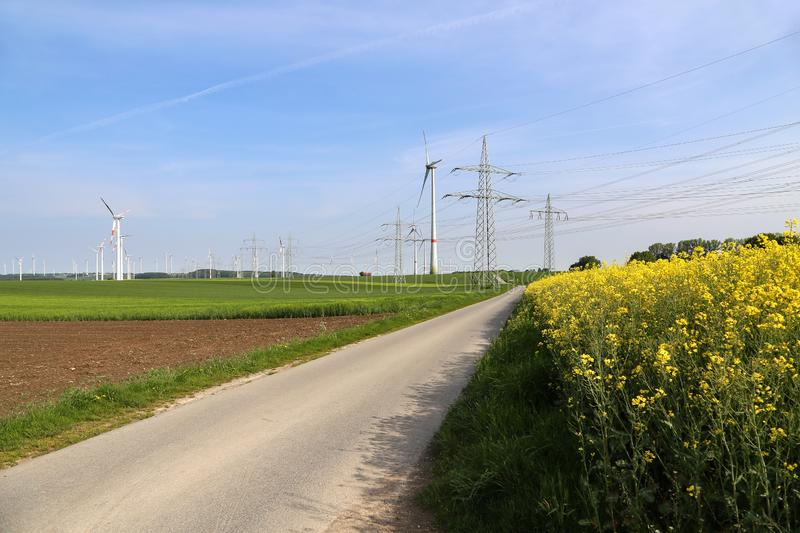 Wind engines in the fields in Germany.  royalty free stock photo