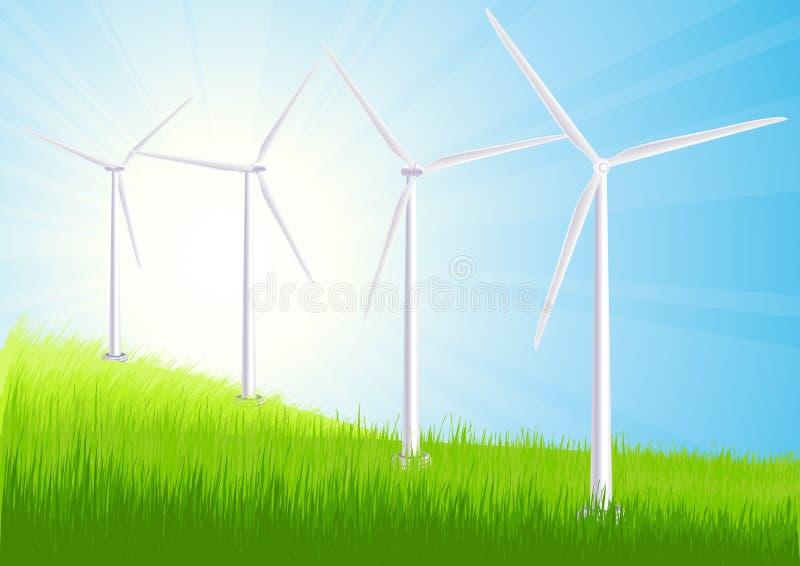 wind för lantgårdfältsommar royaltyfri illustrationer