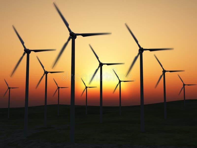 wind för strömstationer stock illustrationer