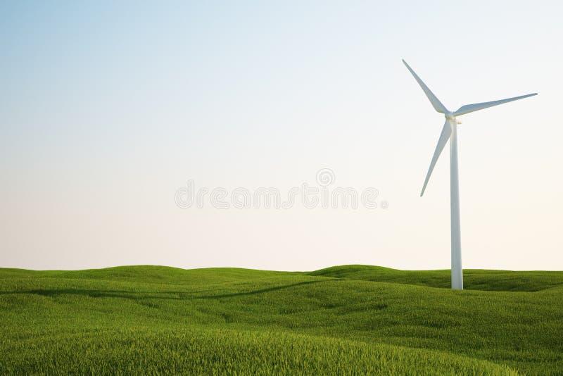 wind för turbin för fältgräsgreen vektor illustrationer