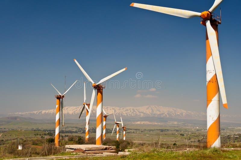 wind för turbin för kantlantgård israelisk syriansk royaltyfri bild