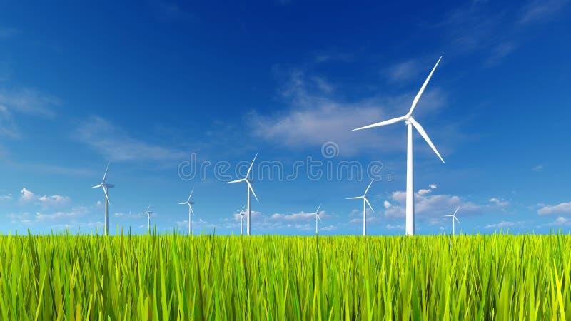 wind för turbiner för fältgräsgreen vektor illustrationer