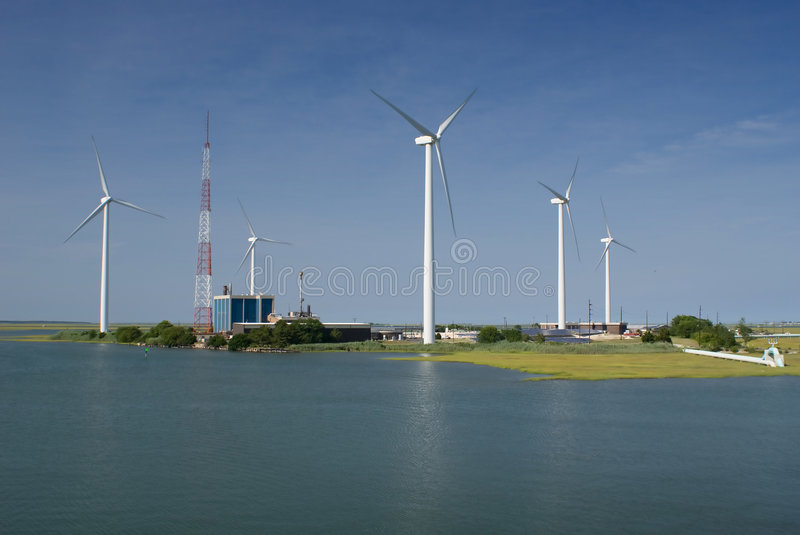 Wind farm. In Atlantic City, New Jersey royalty free stock image