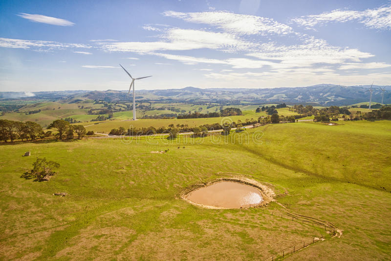 Wind farm in Australia. Scenic aerial view of wind farm in Toora, Victoria, Australia royalty free stock photography