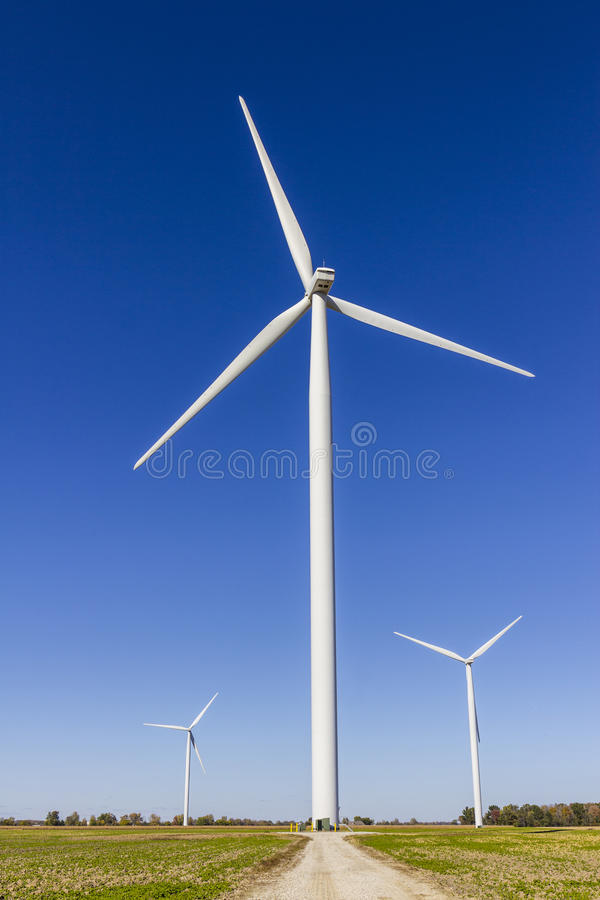 Wind Farm in Central Indiana. Wind and Solar Green Energy areas are becoming very popular in farming communities VI. Wind Farm in Central Indiana. Wind and Solar stock image