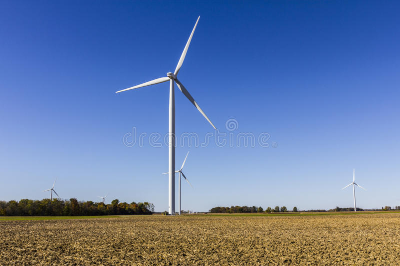 Wind Farm in Central Indiana. Wind and Solar Green Energy areas are becoming very popular in farming communities VIII. Wind Farm in Central Indiana. Wind and royalty free stock photography