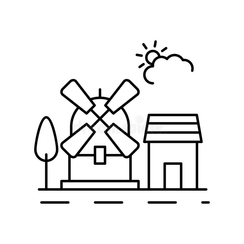 Wind farm, cloud, landscape icon. Element of landscape thin line icon royalty free illustration