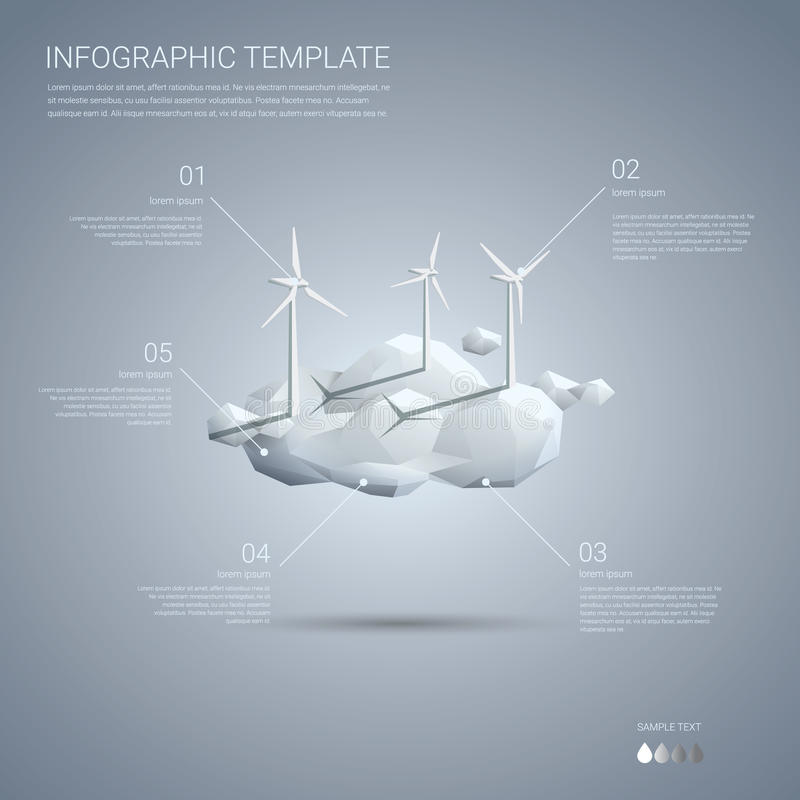 Wind farm on clouds infographics template. Clean vector illustration