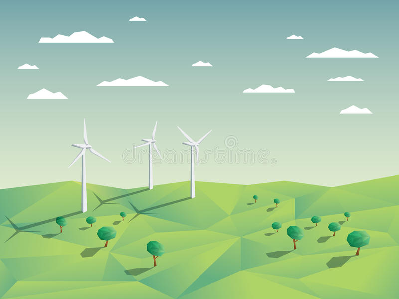 Wind farm in green fields among trees. Ecology. Environmental background for presentations, websites, infographics. Modern 3D low polygonal design. Eps10 vector stock illustration