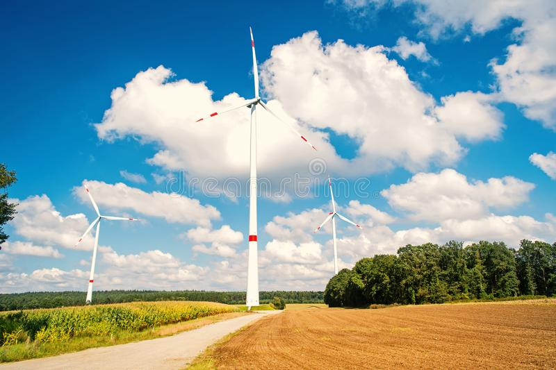 Wind farm in Lower Saxony, Germany stock images