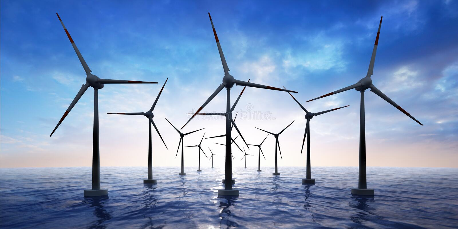 Wind farm in the ocean at sunset stock illustration