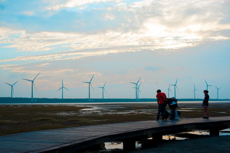 A Wind Farm in Qingshui District, Taichung, Taiwan. Taiwan`s wether is tropical and does not snow much during winter.  In summer. International royalty free stock images