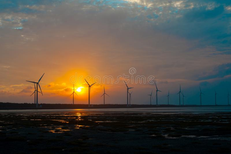 A Wind Farm in Qingshui District, Taichung, Taiwan. Taiwan`s wether is tropical and does not snow much during winter.  In summer. International stock images