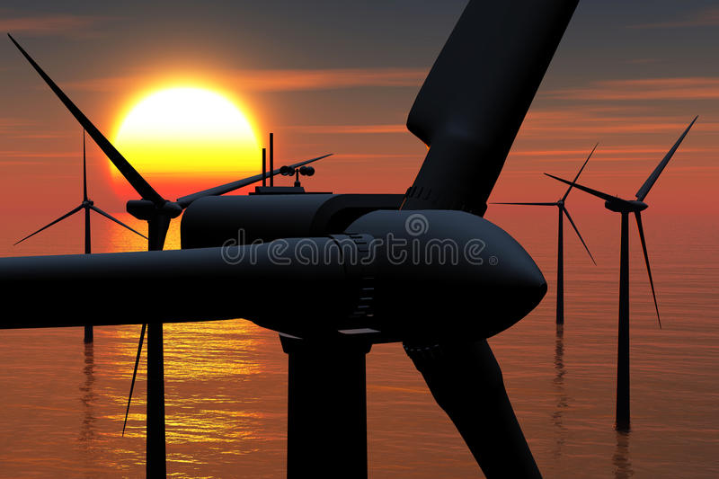 Wind Farm in the Sea sunset 02 3D render stock images