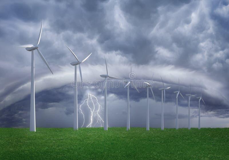 Wind farm at shtorm. Wind turbines farm at thundershtorm. Arrangement from 4 my images and 3d model vector illustration