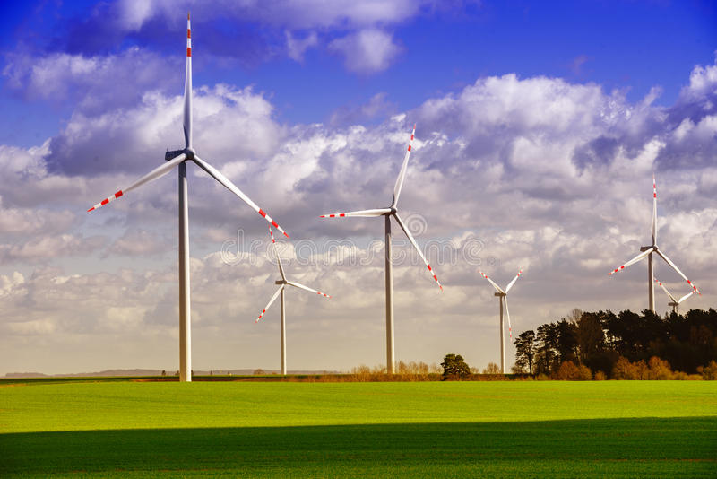 Wind Farm - sunny spring day royalty free stock photography