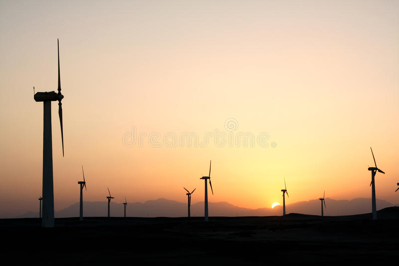 Download Wind farm after sunset stock photo. Image of alternate - 29893740