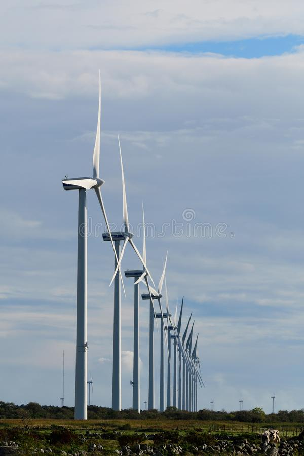 Wind farm in sweden stock photo