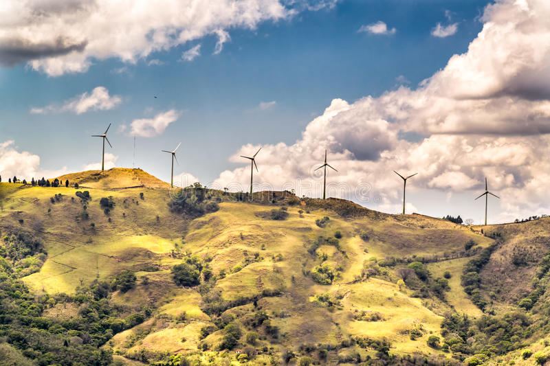 Wind Farm Towers. Wind Towers on top of a mountain stock photo
