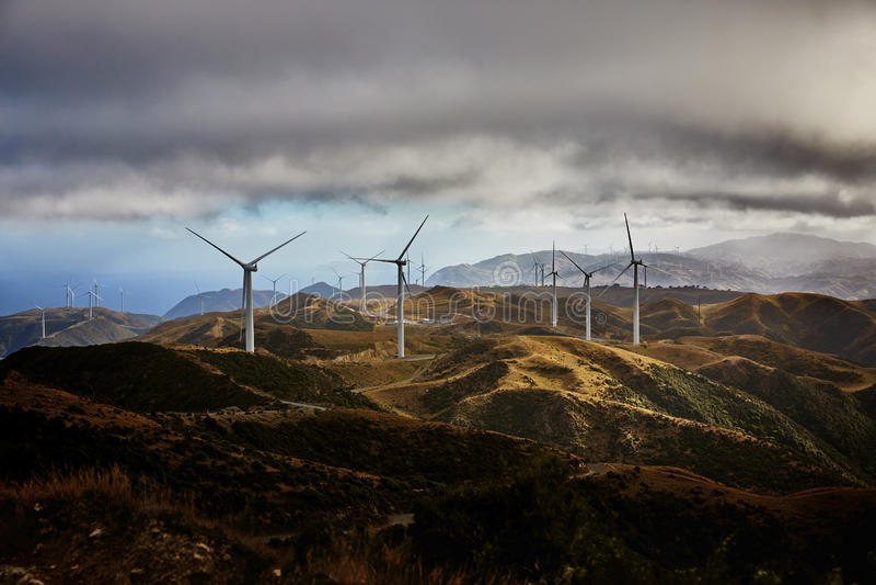 Wind Farm. Turbines Wellington New Zealand royalty free stock photos