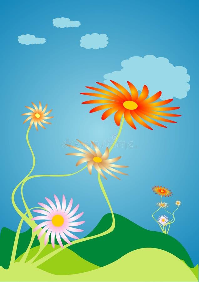 Wind flowers vector illustration