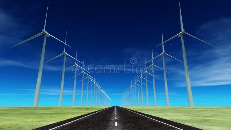 Wind-frambragd elektricitet royaltyfri illustrationer