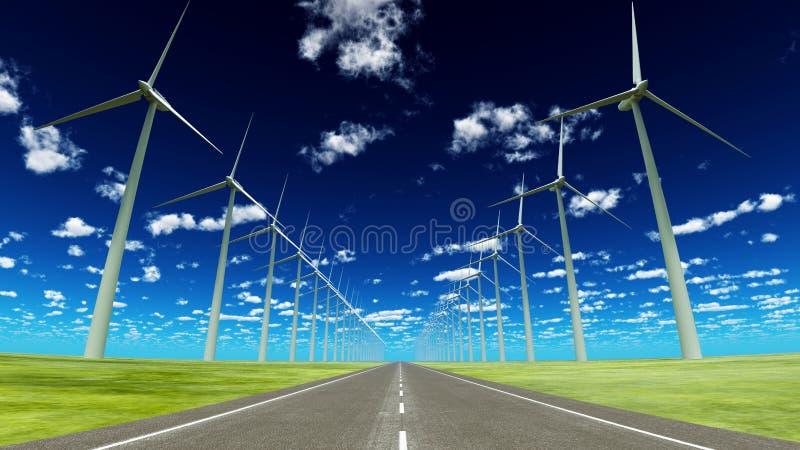 Wind-frambragd elektricitet stock illustrationer