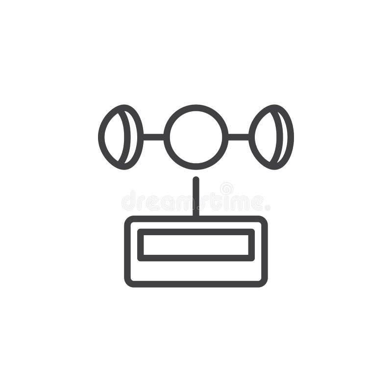 Wind gauge line icon. Outline vector sign, linear style pictogram isolated on white. Symbol, logo illustration. Editable stroke vector illustration