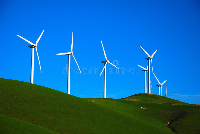 Wind Generating Farm. In Northern California Foothills stock photo