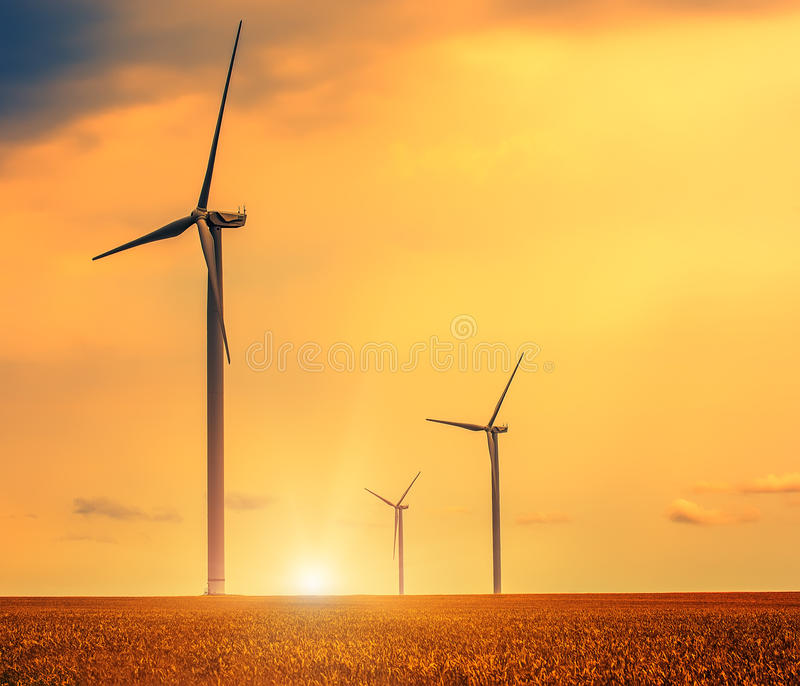 Wind generator among fields of wheat. A field of wheat and a lost generator. Beautiful sky with clouds at sunset stock image