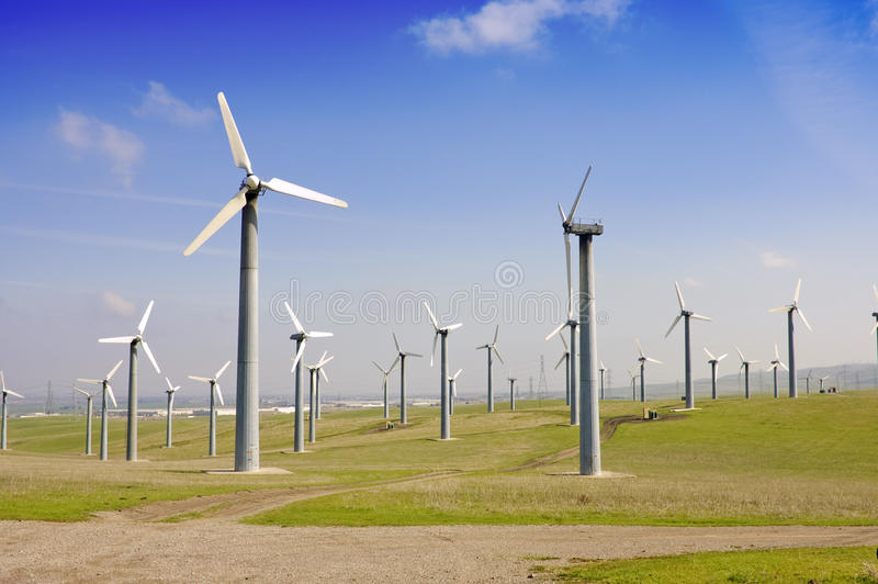 Wind generators farm stock photos