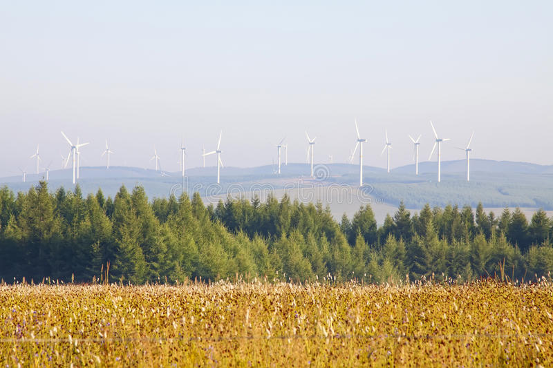 Wind generators in grassland. In chengde SaiHanBa, in China royalty free stock photos