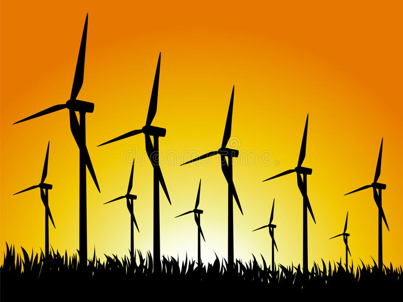 Download Wind generators and sunset stock vector. Image of windmill - 23457014