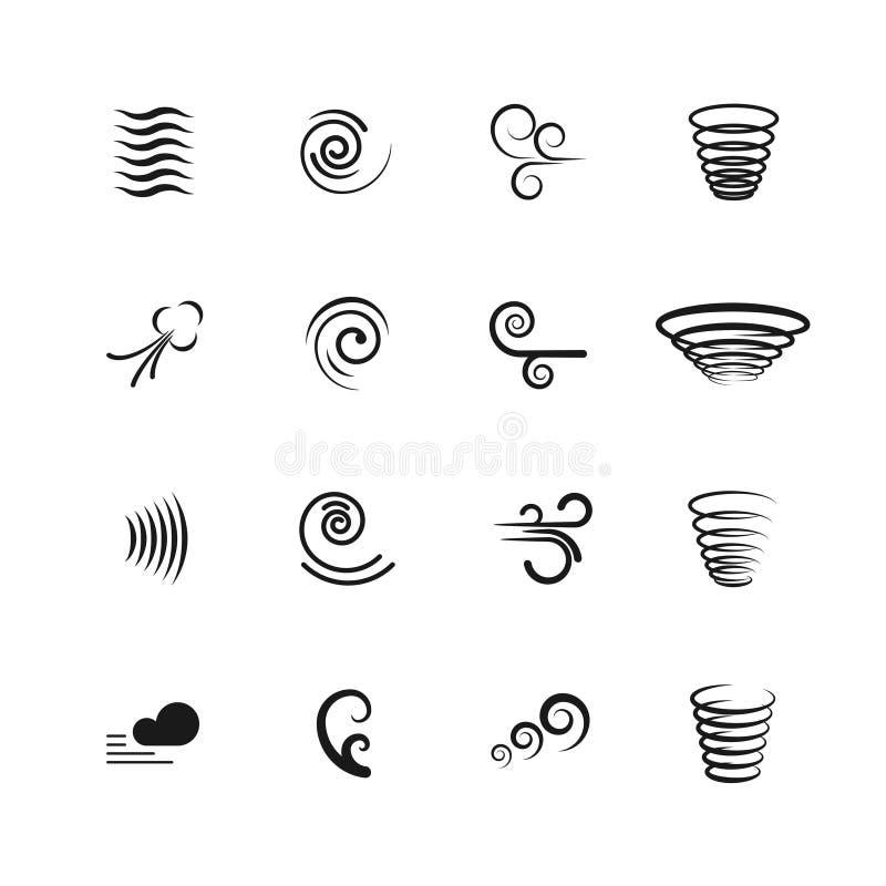 Wind, geplaatste motie vectorpictogrammen stock illustratie
