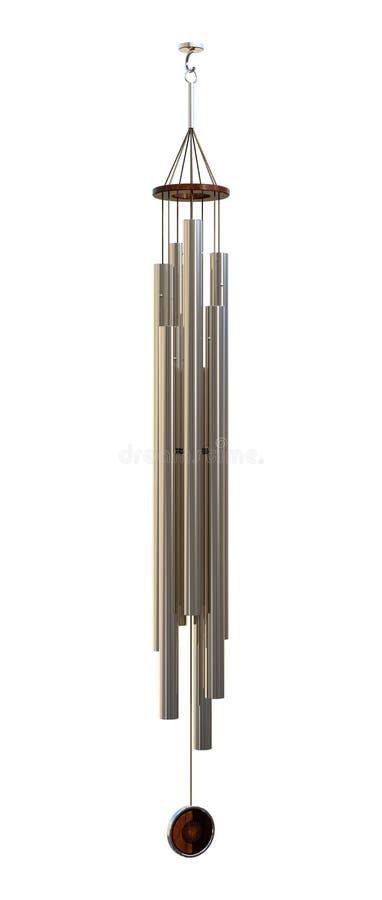Wind-Glockenspiel der Wiedergabe-3D auf Weiß lizenzfreies stockfoto