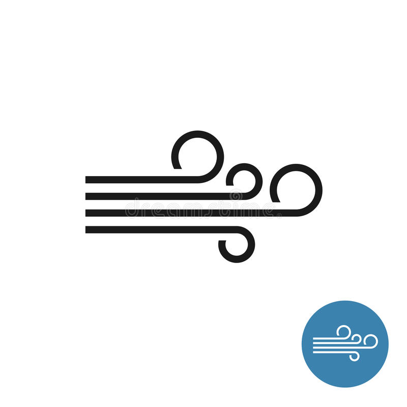 Wind icon. Simple black linear style. royalty free illustration