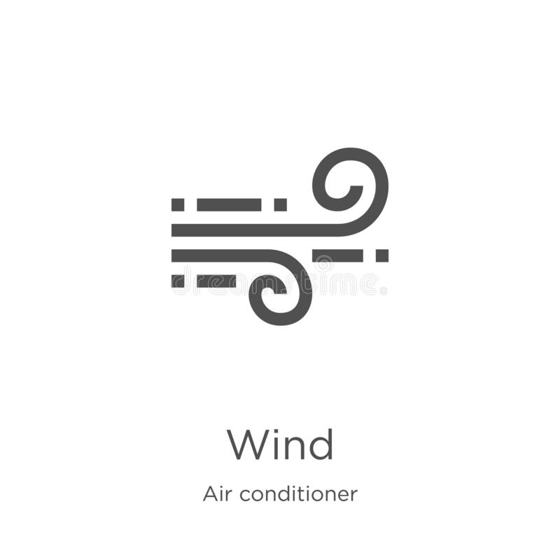 Wind icon vector from air conditioner collection. Thin line wind outline icon vector illustration. Outline, thin line wind icon. Wind icon. Element of air stock illustration