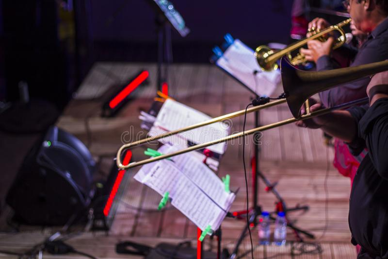 Wind instruments in live jazz concert royalty free stock photography