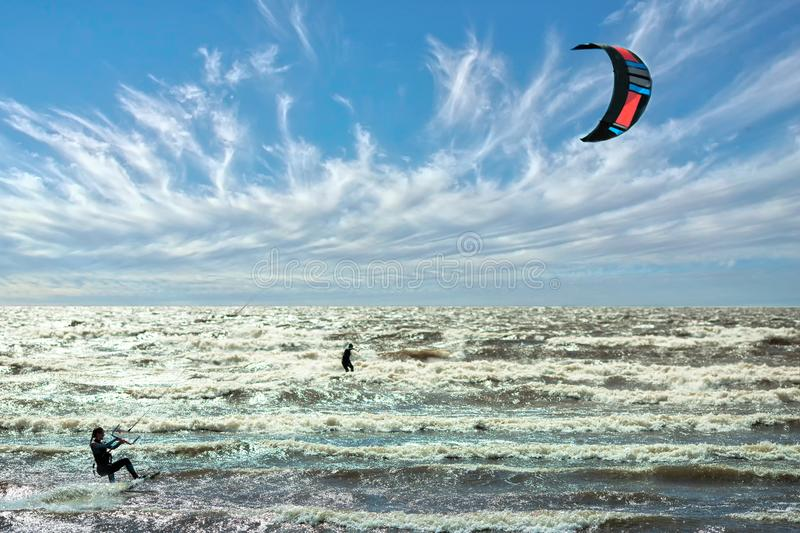 Wind and kite surf competition beautiful sky in background stock image