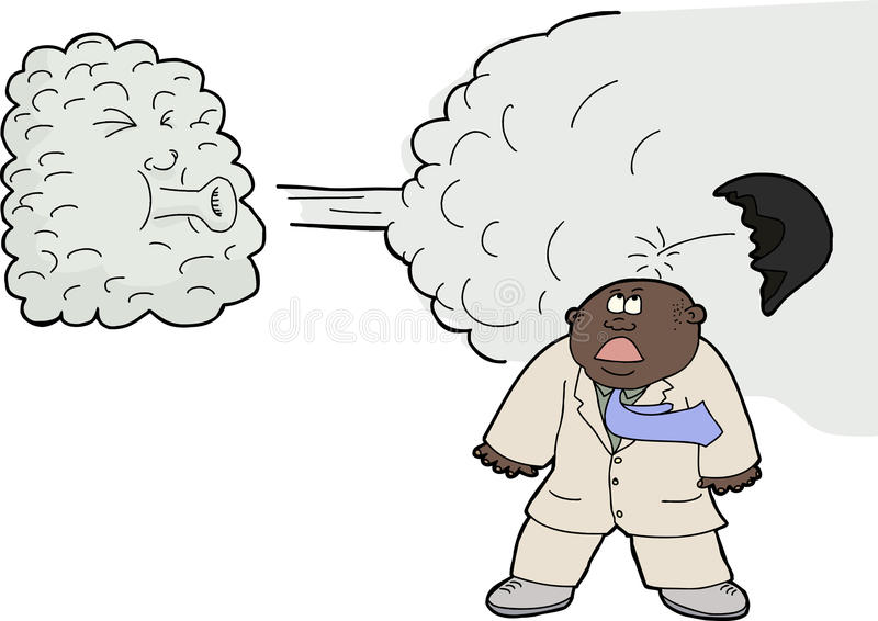Wind Lifts a Toupee royalty free illustration