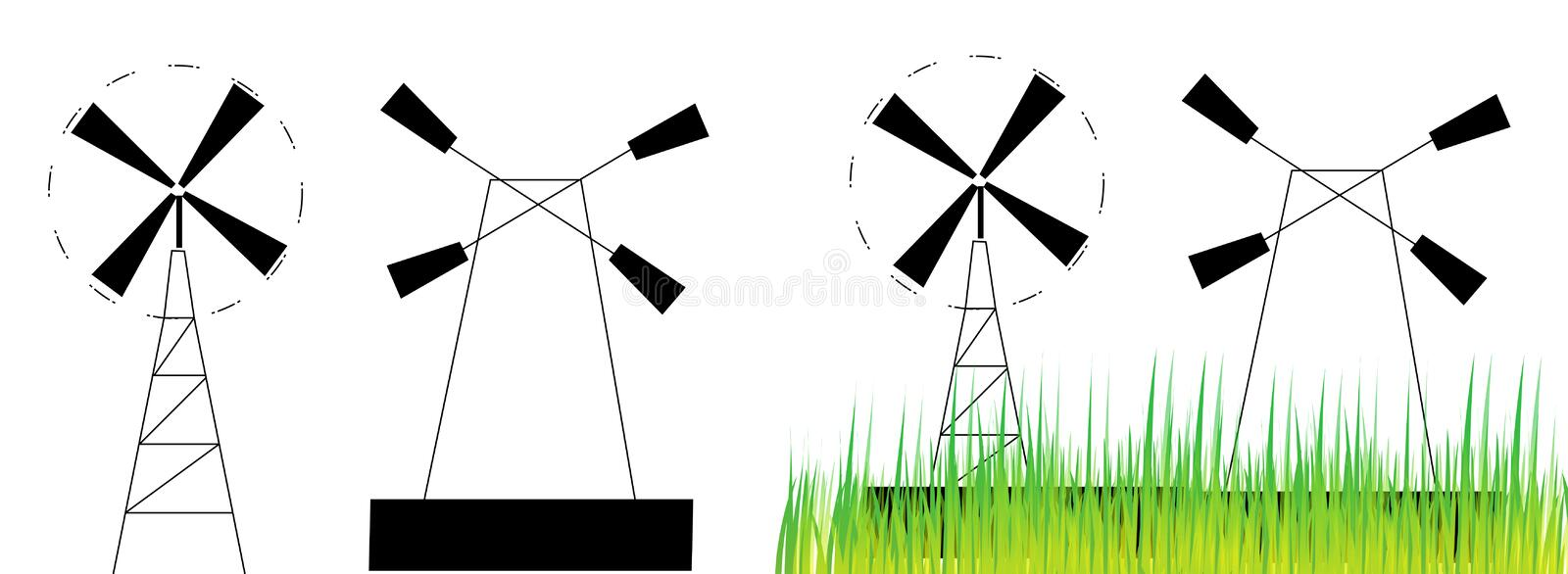 Download Wind mill stock illustration. Illustration of electricity - 18586979